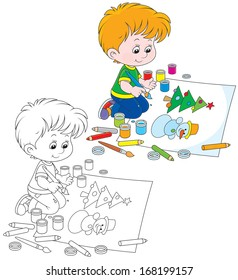Boy drawing a picture with a funny snowman and Christmas tree