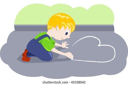 Boy draws heart. Vector illustration.