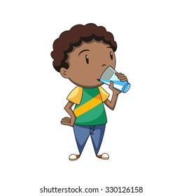 Boy drinking water, vector illustration