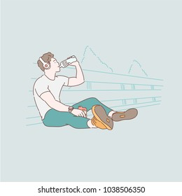 Boy drinking water while listening to music after jogging. hand drawn style vector doodle design illustrations.