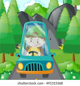 Boy driving in blue car illustration