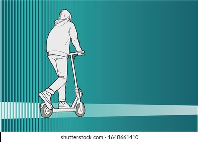 A boy driving a scooter over abstract background