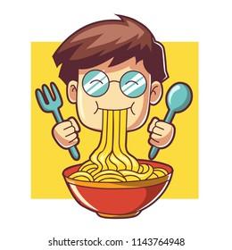 Boy eat noodle