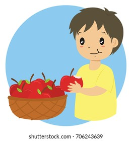 a boy eating an apple and a basket full of red apples cartoon vector