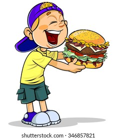 Boy eating burger.