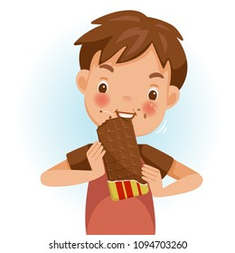 Boy eating chocolate. Emotional mood on the child's face feels good. Delicious and very happy. chocolate on the cheeks. Cute cartoon in red shirt. Vector illustrations isolated on white background.