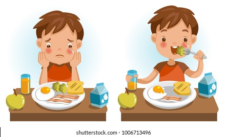 Boy eating. Emotions and gestures. Conversely, Unwillingness, appetizing, Unhappy and happy. The concept of Health and growing children. Cartoon illustrations vector. Isolated on white background