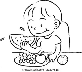 Cartoon Kid Eating Fruit Images, Stock Photos & Vectors