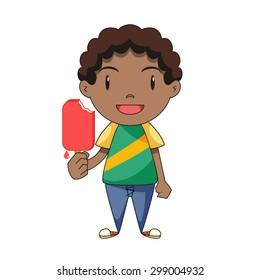 Boy eating ice cream, vector illustration