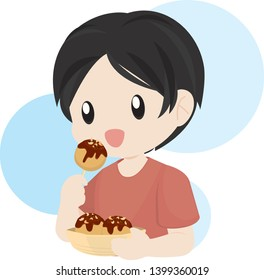 Boy Eating Japanese Octopus Ball
