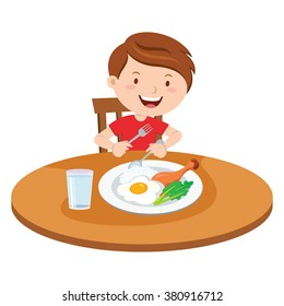 Boy eating meal. Vector illustration of a little boy eating lunch.