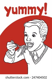 boy eating pasta poster red yummy