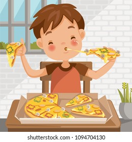 Boy eating pizza. sitting at the table  eating luncheon. Delicious food in Pizza box. at home in the dining room. cute little boy cartoon In red shirt. emotional on child's face feels good very happy.
