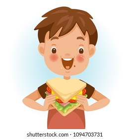 sandwich cartoon images stock photos vectors shutterstock https www shutterstock com image vector boy eating sandwich emotional mood on 1094703731