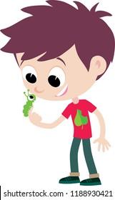boy ecologist explores a little caterpillar