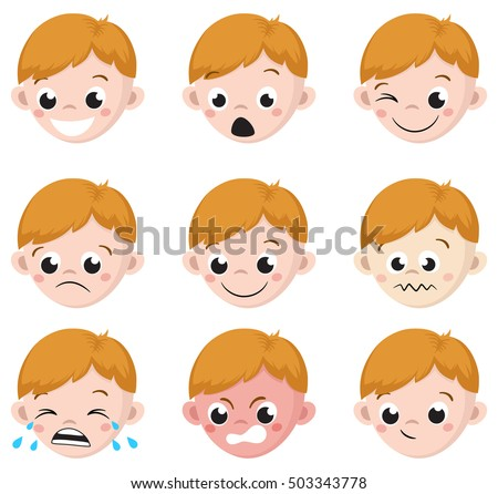 boy emotion faces cartoon isolated set stock vector royalty free