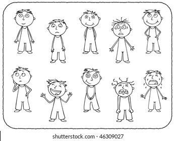 Boy emotions - contour
