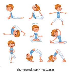 Boy engaged in physical exercises. Gymnastics for children. Plays sports. Funny cartoon character. Vector illustration. Isolated on white background.