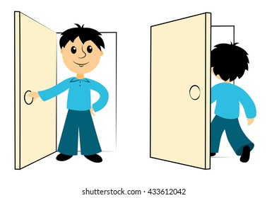 The boy enters a door. Clip art for business. Isolated on white. Vector.
