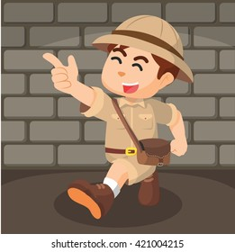 boy explorer pointing cartoon illustration