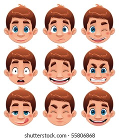 Boy Expressions. Funny cartoon and vector character.