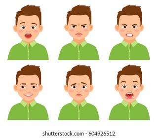 Boy face expression vector set. Amazed and sad, funny and hurt cartoon kid isolated on white background