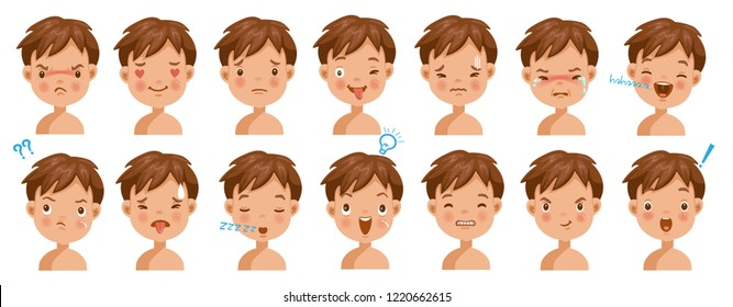 Boy facial emotions set. Child face with different expressions.  Variety of emotions children. Male heads show a variety of moods and differences. Schoolboy portrait avatars. Isolated vector.