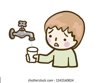Boy Faucet Water