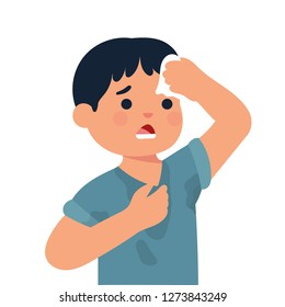 boy feels hot and exhausted, boy with sweaty clothes, kid wipe his head with tissue