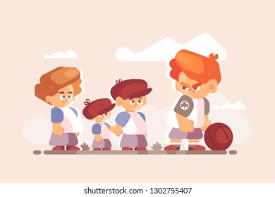 Boy fighter with good kids outside. Little disgruntled child standing clenched fists with ball vector illustration. Different children characters flat style concept