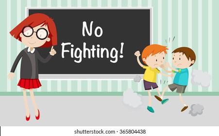 Boy fighting in front of no fighting sign illustration