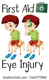 boy first aid eye injury illustration