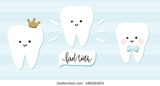 Boy first tooth clip art. Clean teeth with blue bow tie, crown, toothpaste and lettering. Stripe background. Kawaii clipart