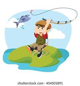 a boy was fishing