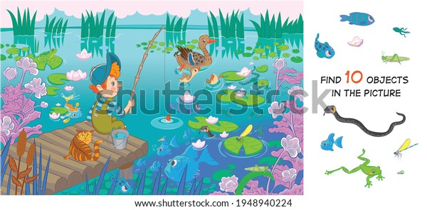 The boy is fishing. Find 10 hidden objects in the picture. Hidden objects puzzle. Funny cartoon character. Vector illustration. Set