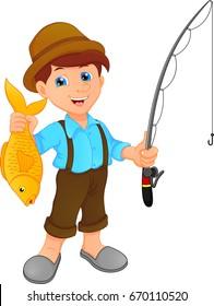 boy fishing holding fish cartoon