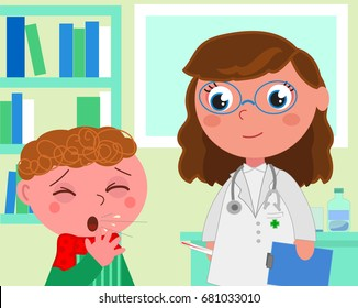 Boy with flue and doctor in pediatrist medical office, cartoon vector illustration