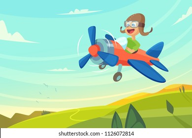 Boy flying in airplane. Funny cartoon illustration. Airplane flying, pilot cheerful vector