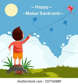 Boy flying kite for Happy Makar Sankrant in vector