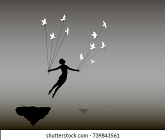 boy is flying rock and holding pigeons on flying rock, little prince, fly in the dream, shadows, life on flying rock, silhouette.