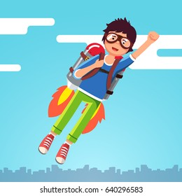 Boy flying in the sky clouds on a rocket jetpack like a super hero pilot. Kid raising fast with winner clenched fist gesture. Flat style character vector illustration isolated on white background.