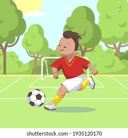 A boy football player, in a red sports shirt, runs across the football field and kicks a soccer ball. Vector illustration in cartoon style, isolated flat