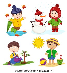 boy and the four seasons - vector illustration, eps
