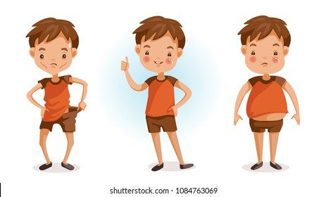 Boy of full figured portraits. Changes in body weight. Three forms. fat, thin, slender, bad, excellent. Children's health and growth concept. Vector illustrations isolated on white background.