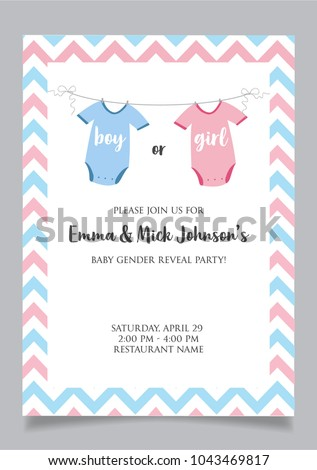 boy gender reveal party invitation card stock vector royalty free