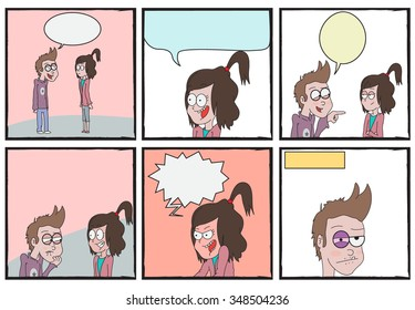 Boy and girl argue comic strip/Editable Eps 10