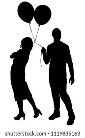 Boy and girl with balloons silhouette