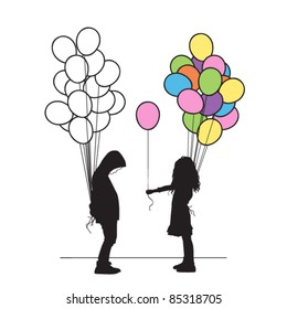 Boy and girl with balloons. Vector illustration.