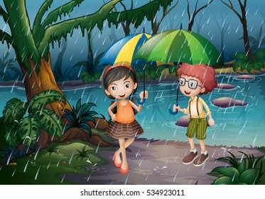 Boy and girl being in the rain illustration