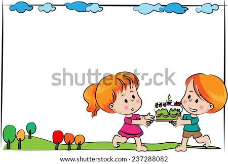 Boy And Girl With Blank Birthday Card